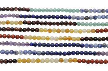 Mixed Chakra Gemstones Polished 4mm Round