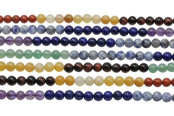 Mixed Chakra Gemstones Polished 6mm Round