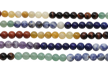 Mixed Chakra Gemstones Polished 8mm Round