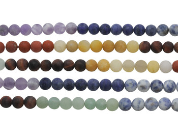 Mixed Chakra Gemstones Matte 8mm Round