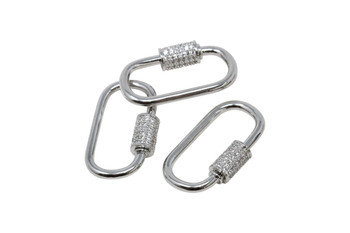 Silver 28x16 Micro Pave Carabiner