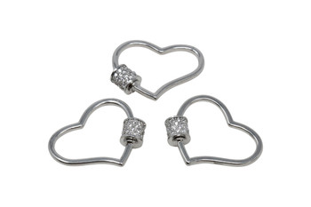 Silver Micro Pave Artistic Heart Carabiner