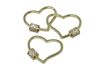 Gold Micro Pave Artistic Heart Carabiner
