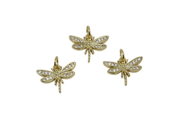 Gold Micro Pave 12x15mm Dragonfly Charm
