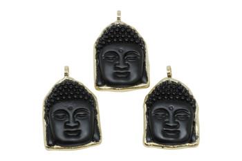 Black Obsidian 38x50 Buddha Head Pendant