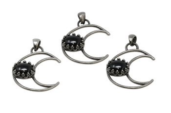 Black Obsidian Crescent Moon Pendant