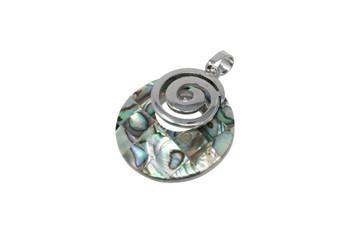 Abalone Silver Spiral Mosaic Pendant