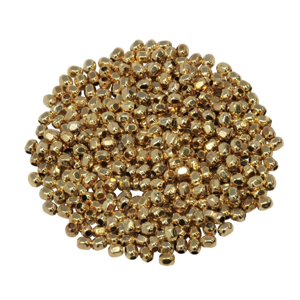 Size 11 Hex Seed Beads -- Gold Gilded Brass