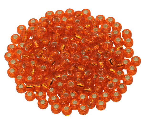 Size 5 Miyuki Seed Beads -- Orange / Silver Lined