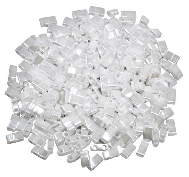 1/2 Cut 5mm Tila Beads -- White Luster