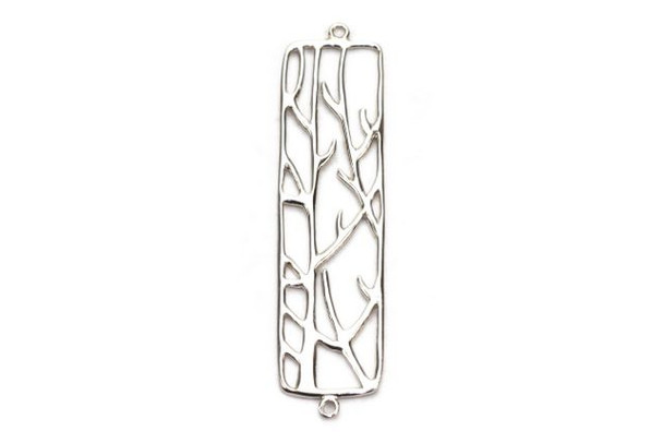 Connector Rectangle with Branch Design - Sterling Silver