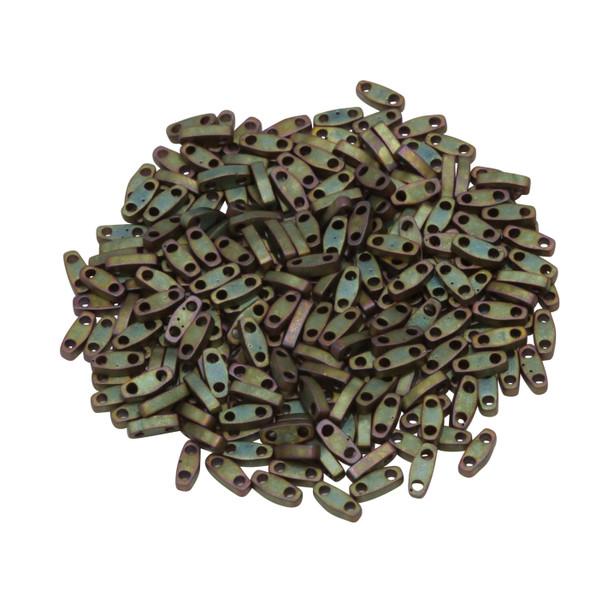 Quarter Tila Beads -- Metallic Khaki Iris Matte
