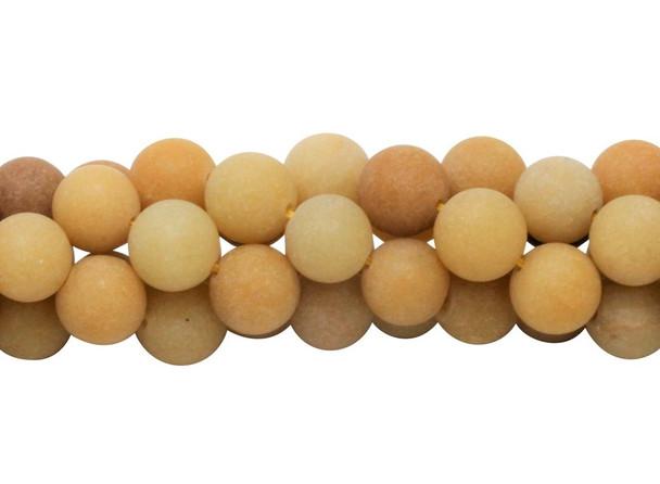 Natural Yellow Jade Matte 12mm Round