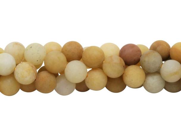 Natural Yellow Jade Matte 10mm Round