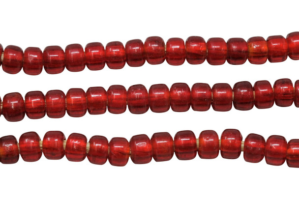 Transparent Red 8mm Glass Pony Beads