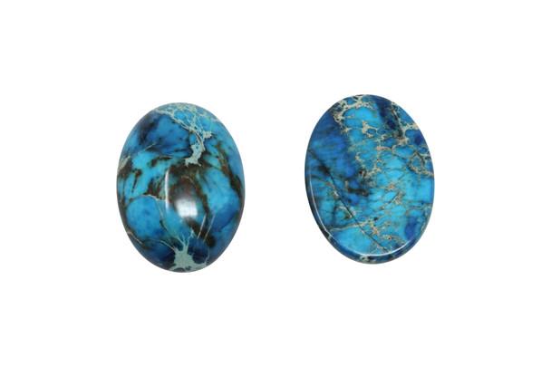 Dyed Blue Impression Jasper Polished A Grade 18x25mm Oval Cabochon
