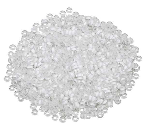 Size 8 Toho Demi Round Seed Beads -- Crystal Frosted / Snow Lined