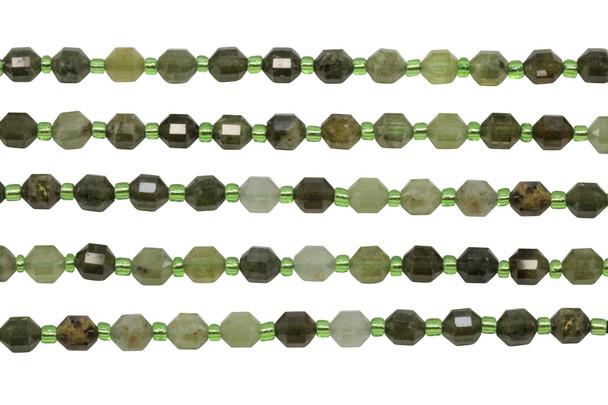 Green Garnet Polished 6x7mm Faceted Prism Rondel