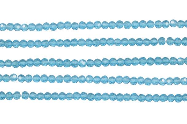 Glass Crystal Polished 3.5x4mm Faceted Rondel - Transparent Aquamarine