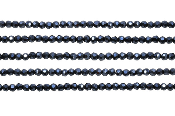 Glass Crystal Polished 4mm Faceted Rondel - Full Plated Midnight Blue