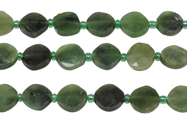 Canadian Jade Polished 10mm Faceted Diamond with Spacers