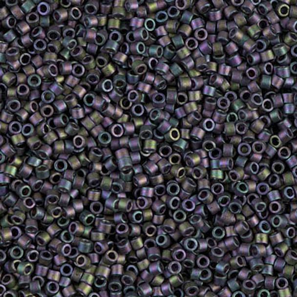 Delicas Size 11 Miyuki Seed Beads -- 1053 Matte Metallic Purple Green / Gold Iris