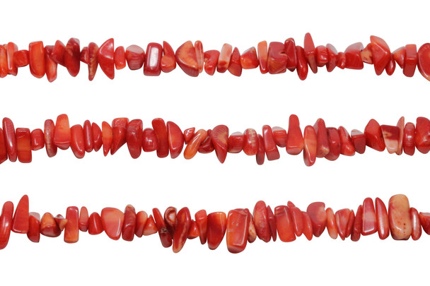 Red Coral Dyed Polished 8-12x5mm Chips