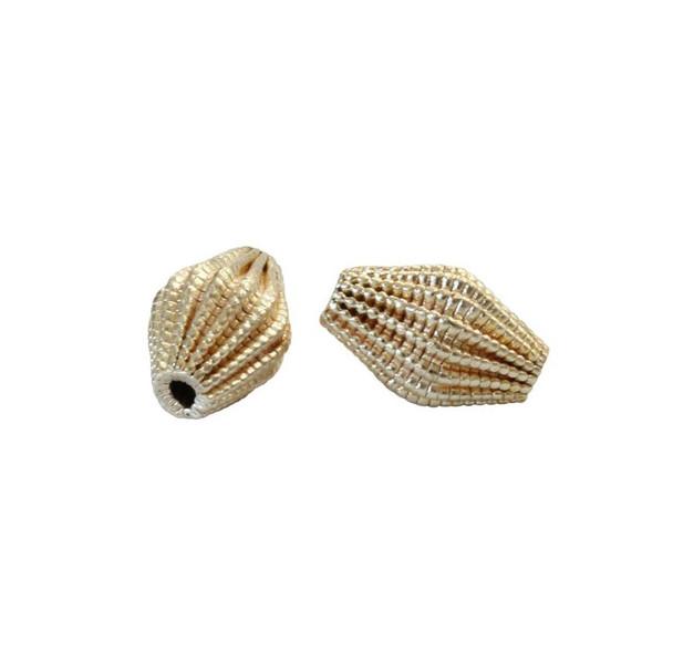 Lace Diamond Bead 13x9mm - Light Gold Plated