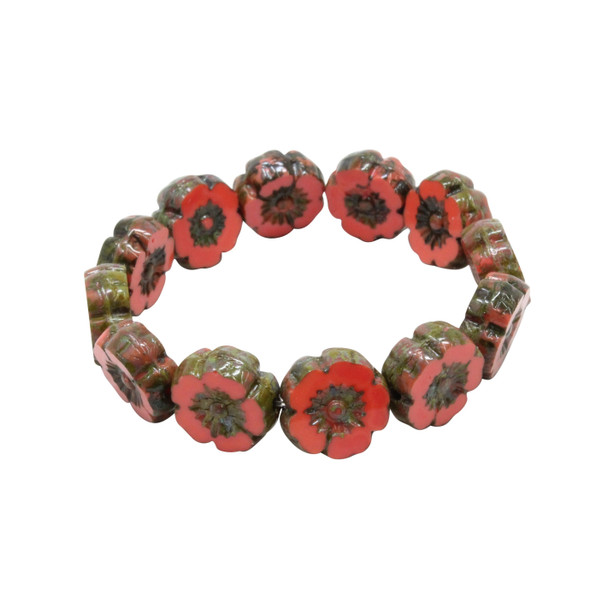 Czech Glass 9mm Hibiscus Flower Beads - Opaque Red Coral with Picasso Finish