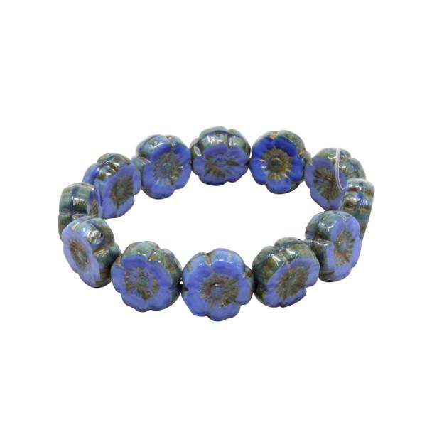 Czech Glass 9mm Hibiscus Flower Beads - Royal Blue Silk with Bronze Finish