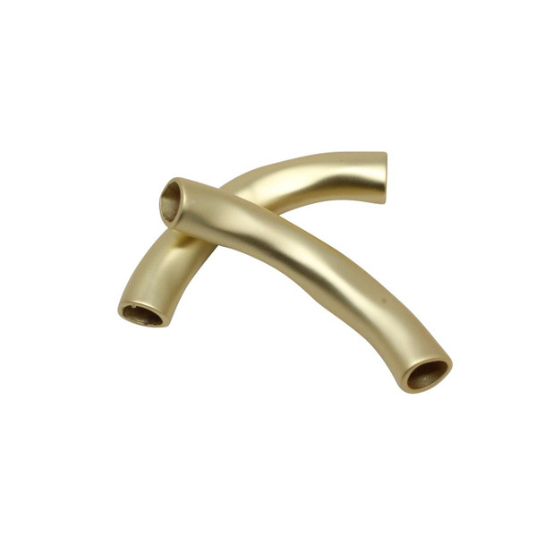 Curved Tube Bead - Matte Gold Color Plated