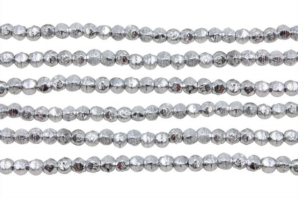 Czech Glass 3mm English Cut Round -- Silver