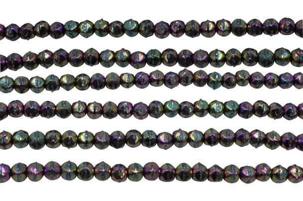 Czech Glass 3mm English Cut Round -- Purple Iris