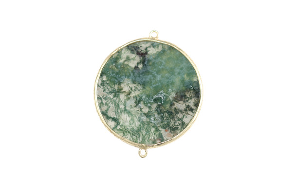 Large Moss Agate Gold Framed Flat Connector