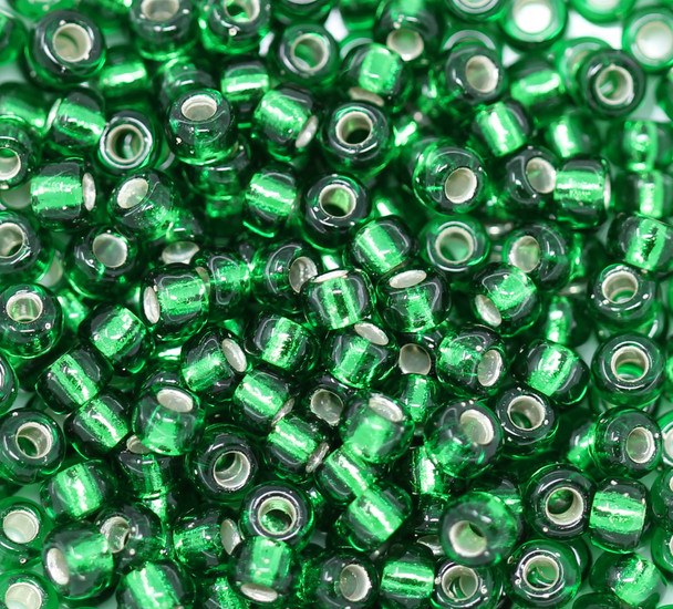 Size 6 Miyuki Seed Beads -- 146S Green / Silver Lined