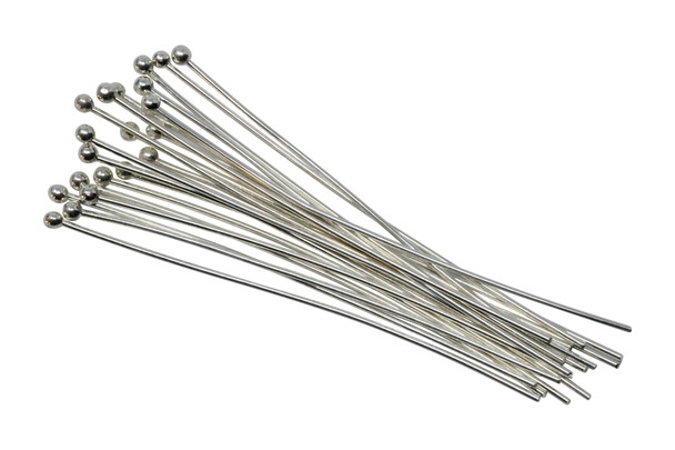 """Silver Plated 2"""" Long 20 Gauge Ball End Head Pins - 20 Pieces"""