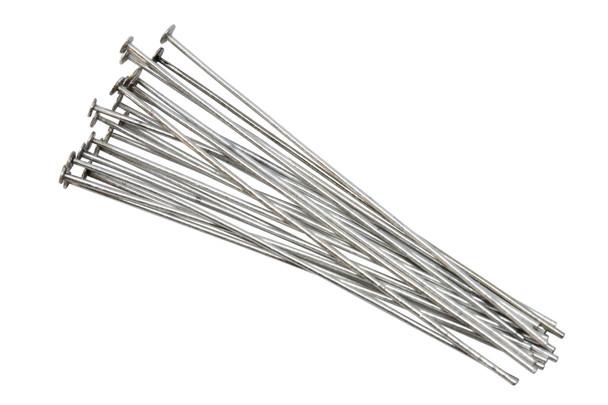"Antique Silver 1.5"" Long 24 Gauge Head Pins - 20 Pieces"