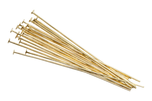 """Plated Gold 1.5"""" Long 24 Gauge Head Pins - 20 Pieces"""