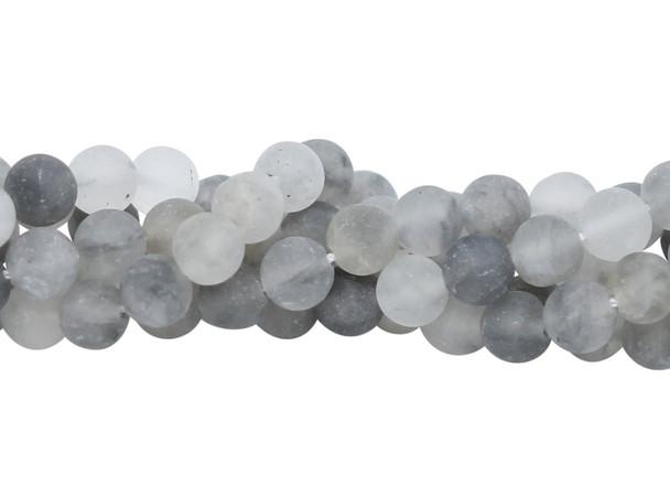 Cloudy Quartz Matte 8mm Round