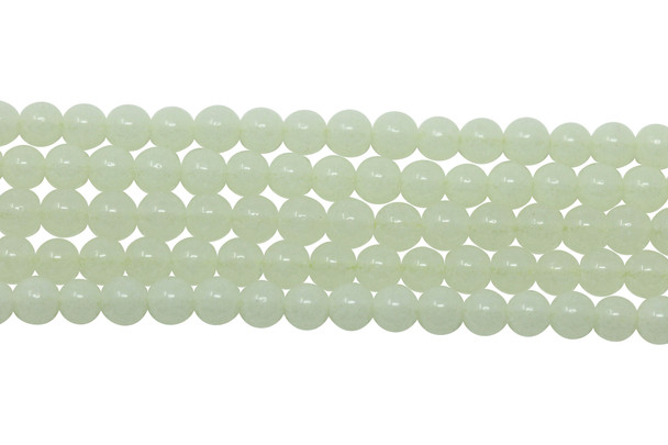 Green Aragonite Polished 4mm Round - Glow in the Dark