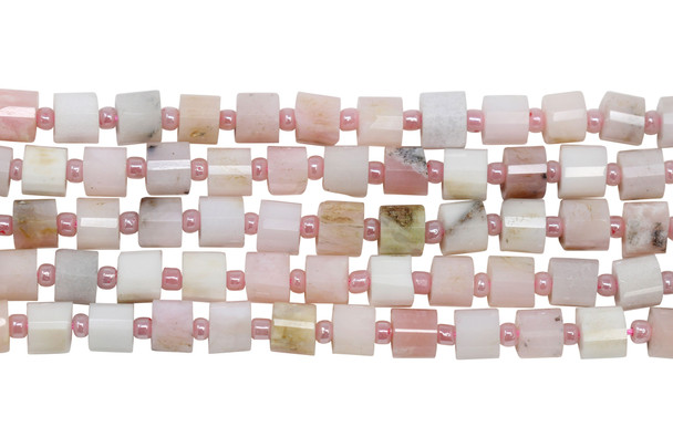 Pink Opal Polished 6mm Faceted Drum