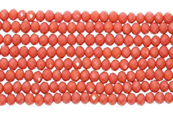 Glass Crystal Polished 4x6mm Faceted Rondel - Opaque Coral