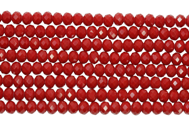 Glass Crystal Polished 4x6mm Faceted Rondel - Opaque Red