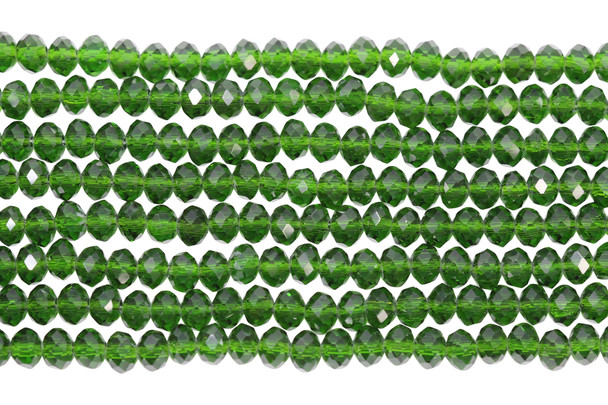 Glass Crystal Polished 4x6mm Faceted Rondel - Transparent Forest Green