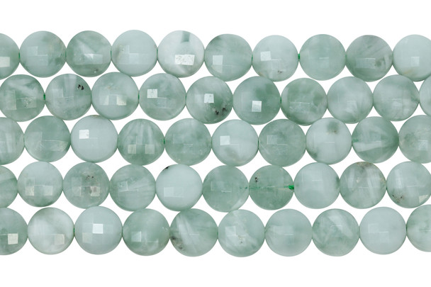 Green Angelite Polished 10mm Faceted Coin