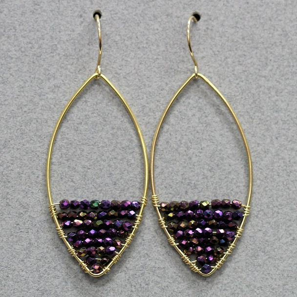 Beaded Frame Earring Kit - Purple and Gold