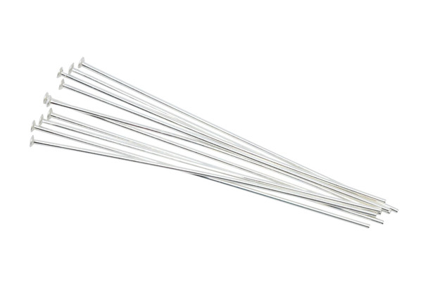 """Sterling Silver 1.5"""" Long 24 Gauge Head Pins - 10 Pieces"""