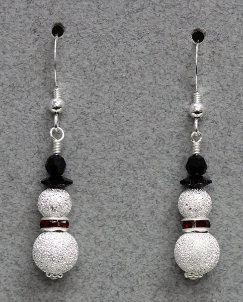 Snowman (Swarovski and silver plated sparkle ball) Earring Kit