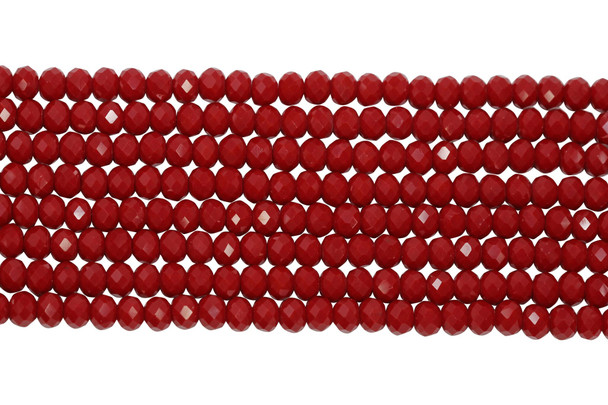Glass Crystal Polished 7.5x6mm Faceted Rondel - Opaque Red