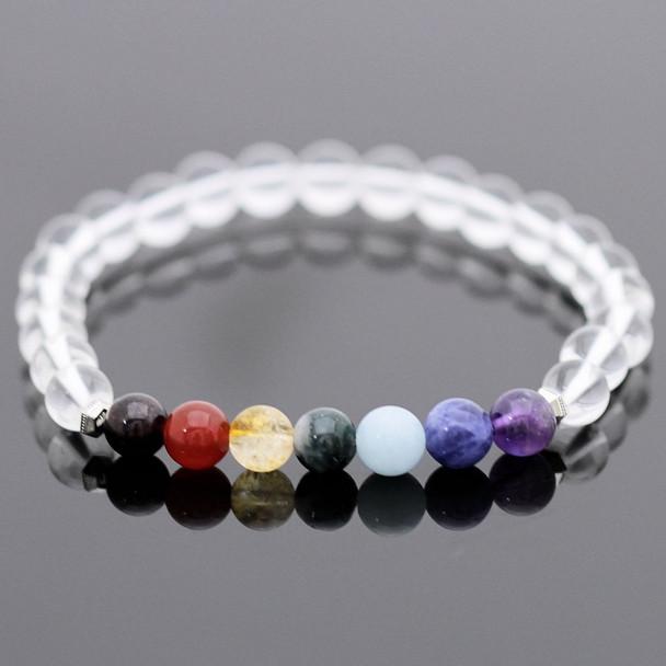Chakra Stretch Bracelet Kit - Crystal Quartz Gemstones